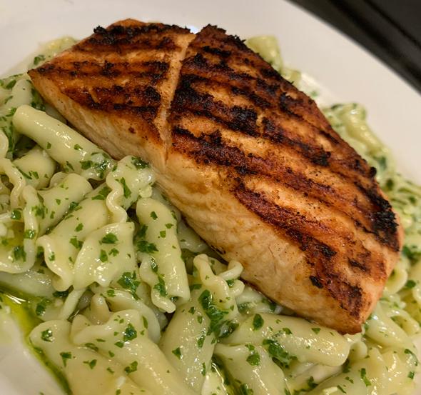 Grilled Salmon over Pesto Pasta